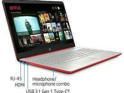 NEW HP 15.6″ HD Red Laptop Intel Quad Core 2.4GHz 4GB RAM Webcam Windows 10