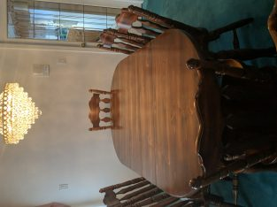 soild dining table and chairs and hatch