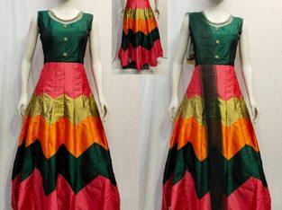 Taffeta Silk Self Designed Gown Bottom with Dupatta Set